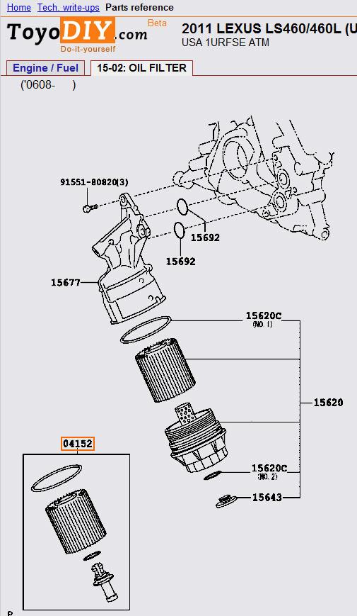 oil filter location on 2012 ls460l awd - 07 - 16 lexus ls460    ls460l    ls600h