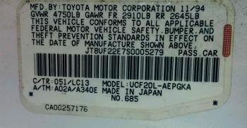 1995 LS400 LF Side FLORIDA CAR VIN Plate.jpg